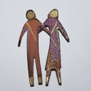 Vintage Artisan Brooch of couple